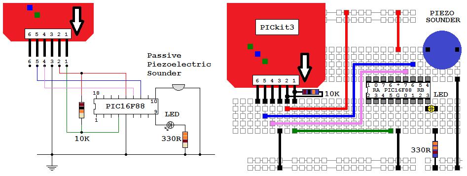 pickit 3 circuit diagram romv4 pic16f88  romv4 pic16f88